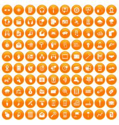 100 mobile icons set orange vector
