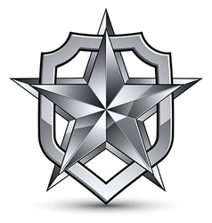 3d heraldic template with pentagonal silver star vector
