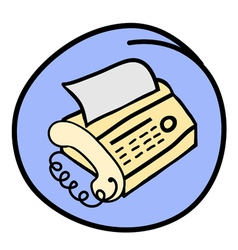 A Fax Telephone on Round Blue Background vector
