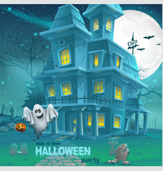 a haunted house for Halloween for a party with vector image