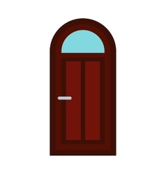 Arched wooden door icon flat style vector