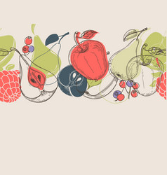 autumn fruits linear background vector image