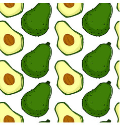 Avocado ripe fruit with seed seamless pattern vector