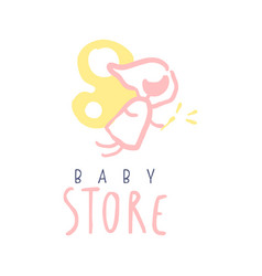 Baby store logo colorful hand drawn vector