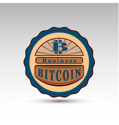 Badge with bit coin symbol vector