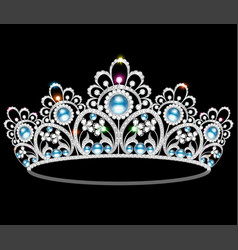 beautiful diadem feminine wedding with pearl vector image