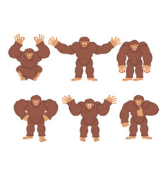 Bigfoot set poses and motion yeti happy and yoga vector