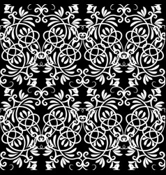 Black and white floral seamless pattern monochroe vector