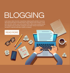 blogging concept writing story book and blog vector image