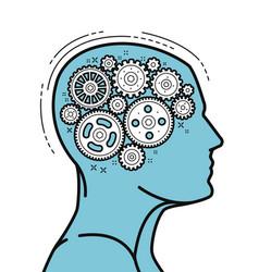 Brain and head mechanical gears in progress vector