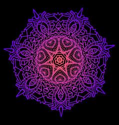 bright decorative mandala neon pink purple vector image