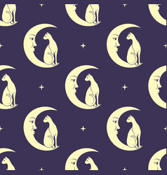 Cat sitting on moon night sky seamless pattern vector