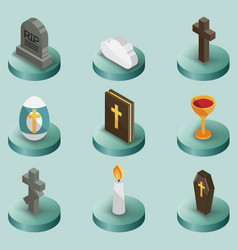 Christianity color isometric icons vector