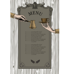 coffee menu female hands with a coffee cup vector image