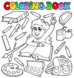 Coloring book school topic 1 vector