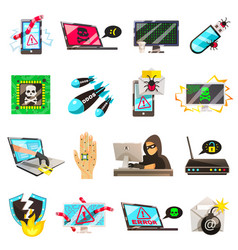 Computer criminal icons collection vector