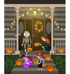 Costumed kids dressed up for trIck or treat vector