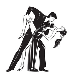 couple dancers in romantic move vector image