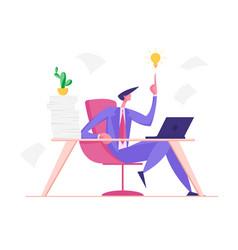 Creative businessman having good idea business vector