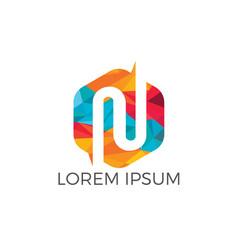 creative letter n logo design vector image