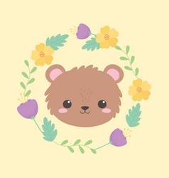 cute bear little face animal cartoon yellow vector image
