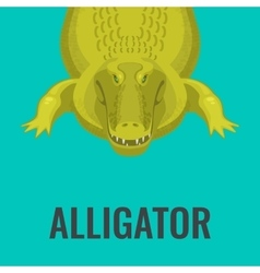 Dangerous green alligator is waiting for lunch vector