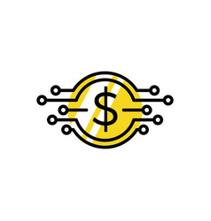 digital e money coin logo icon vector image