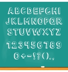 Drawing alphabet lettering on chalk blackboard vector image