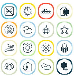 eco icons set with no smoking nature protect vector image