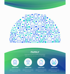 family concept in half circle with thin line icons vector image