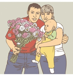 family with a bunch of flowers vector image