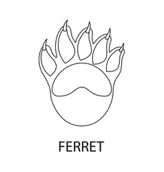 Ferret and paw sign set of vector