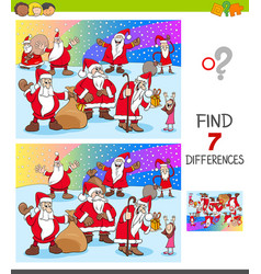 find differences with christmas characters vector image
