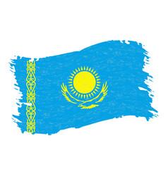 Flag of kazakhstan grunge abstract brush stroke vector