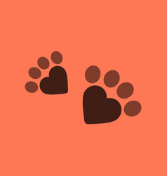 Flat icon on background cat tracks vector
