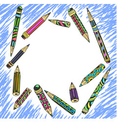 frame decorative colored pencils vector image
