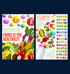 Fruuits and veggies vitamin complex vector