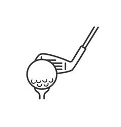 Golf ball on tee with club linear icon vector