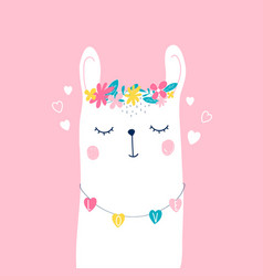 Hand drawing llama and flower crown vector