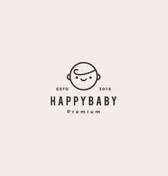 happy baby toddler babies logo hipster retro vector image