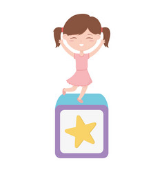happy children day little girl on toy vector image
