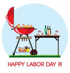 happy labor day bbq set vector image