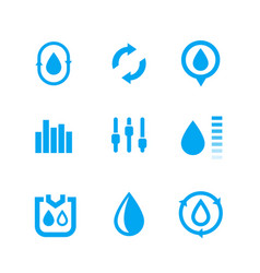 Humidity water control icons set vector