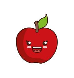kawaii apple icon vector image