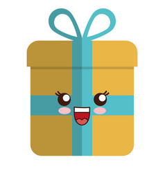 Kawaii gift box icon vector