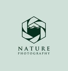 lens photography logo designs with mountain symbol vector image