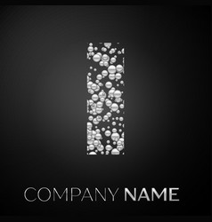 letter i logo silver dots alphabet logotype vector image