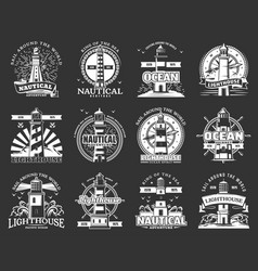 lighthouseand beacon icons marine navigation vector image