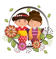 Little japanese couple girls kawaii with flowers vector