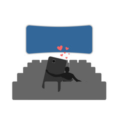 Lover of gadgets man and smartphone in cinema vector
